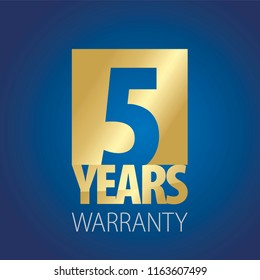 5 Years Warranty gold blue logo icon button stamp vector