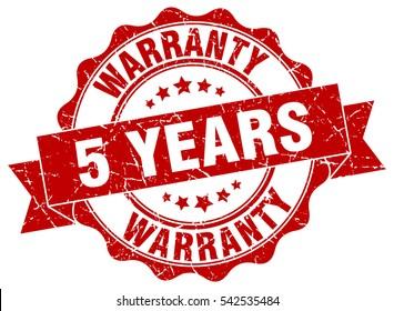 5 years warranty. stamp. sticker. seal. round grunge vintage ribbon 5 years warranty sign