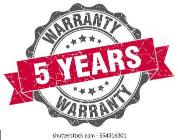 5 years warranty. stamp. sticker. seal. round grunge vintage ribbon 5 years warranty sign