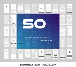 50 in 1 UI kits. Wireframes screens for your mobile app. GUI template on the all topics. Development interface with UX design. Vector illustration. Eps 10