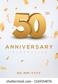 50 Anniversary gold numbers with golden confetti. Celebration 50th anniversary event party template.