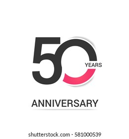50 Anniversary  Logo Celebration, Black and Pink Flat Design Isolated on White Background