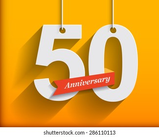 50 Anniversary numbers with ribbon. Flat origami style with long shadow. Vector illustration