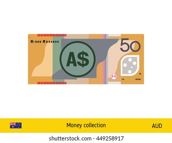 50 Australian Dollar banknote illustration.