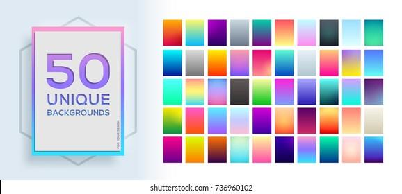 50 best  modern unique soft color gradients. Vector colorful background.