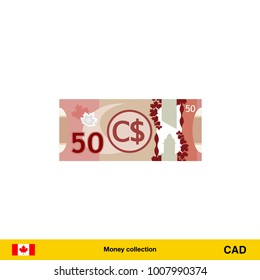 50 Canadian dollar banknote illustration.