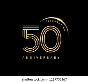50 celebrating anniversary logo with golden ring isolated on black background, vector design for greeting card and invitation card.
