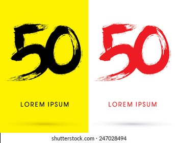 50 ,Chinese brush grunge font ,designed using black and red brush handwriting, logo, symbol, icon, graphic, vector.