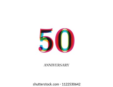 50 Colorful anniversary logotype design isolated on white background