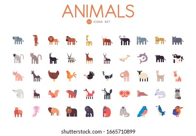 50 cute animals cartoons fill style icon set design, zoo life nature character childhood and adorable theme Vector illustration