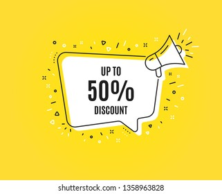 Up to 50% Discount. Megaphone banner. Sale offer price sign. Special offer symbol. Save 50 percentages. Loudspeaker with speech bubble. Discount tag sign. Marketing and advertising tag. Vector