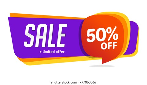 50 discount, Sales Vector badges for Labels, , Stickers, Banners, Tags, Web Stickers, New offer. Discount origami sign banner