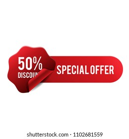 50% Discount Special Offer Red Ribbon Banner Vector Image