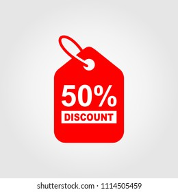 50% Discount Sticker. Sale discount icons. Special offer price signs. Discount Red Tag Isolated Vector Illustration.