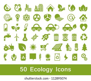 50 Ecology and recycle icons, vector set, set 2