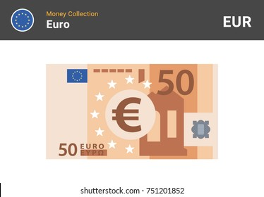 50 Euro banknote. Paper money. Flat Style. Vector illustration.