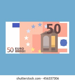 50 Euro banknote. Simple, flat style. Graphic vector illustration.