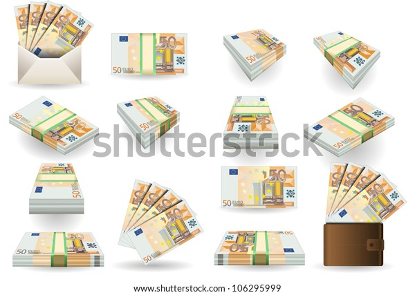 50 Euro Finance Banknotes full set of fifty euro banknotes. Isometric Money Portfolio Collection Market Business Vector 3d Set