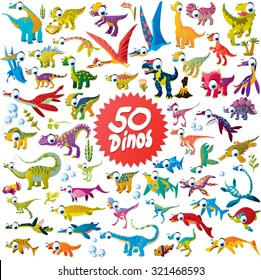 50 funny cartoon dinosaurs including flying and sea dinos: iguanodon, t-rex, triceratops, velociraptor, plesiosaurus, diplodocus, apatosaurus, brachiosaurus and many more in one collection set