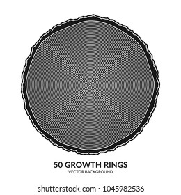 50 growth rings. Tree rings and saw cut tree trunk. Can be used as 50th anniversary concept. Vector illustration