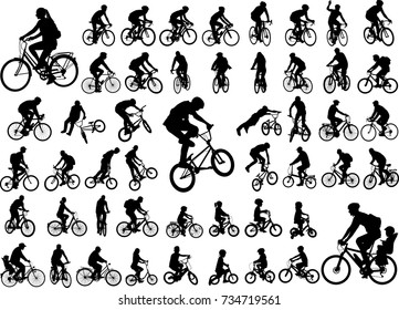 50 high quality bicyclists silhouettes collection - vector
