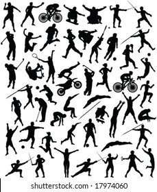 50 high quality sport silhouette - vector