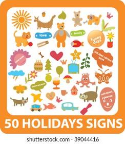 50 holidays sings. vector