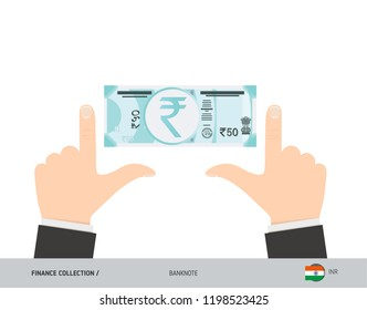 50 Indian Rupee Banknote. Business hands measuring banknote. Flat style vector illustration. Business finance concept.