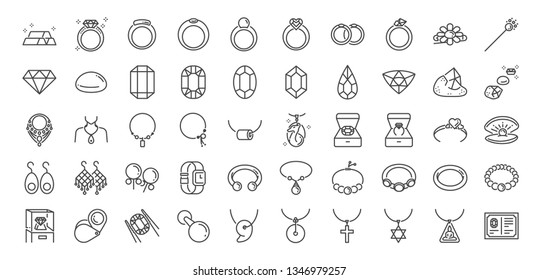 50 Jewelry line icon set. Included icons as gems, gemstones, jewel, accessories, ring and more.