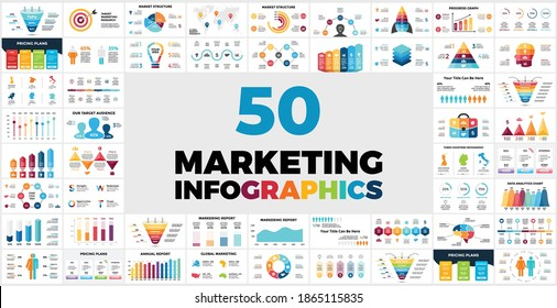 50 Marketing Infographic templates for your presentation. Included elements from sales funnels or human silhouettes to pricing plans, charts and reports.