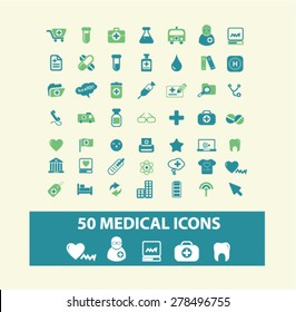 50 medical, health, hospital icons, signs, illustrations set, vector