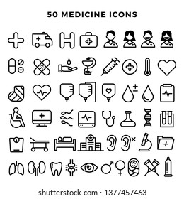 50 Medical Medicine Health icons collection set made in simple line style isolated on white background - Vector EPS
