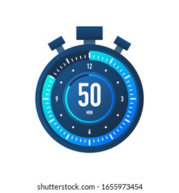 The 50 minutes, stopwatch vector icon. Stopwatch icon in flat style on a white background. Vector stock illustration.