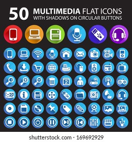 50 Multimedia Flat Icons with Shadows on Circular Buttons.