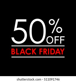 50% off. Black Friday sale and discount banner. Sales tag design template. Vector illustration.