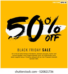 50% OFF Black Friday Sale (Promotional Poster Design Vector Illustration) With Text Box Template