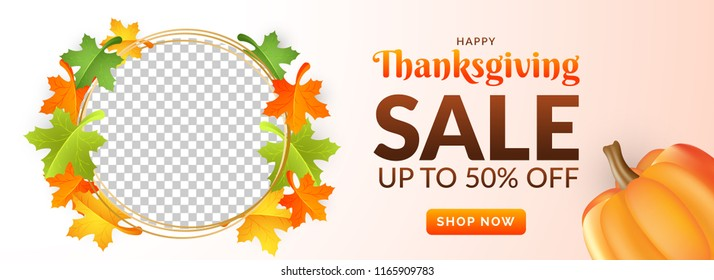Up To 50% off with circular frame decorated with maple leaves and space for your product image for Thanksgiving festival concept.