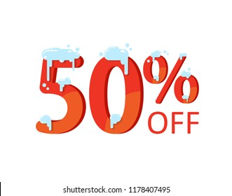 50% off. A discount of fifty percent. Numbers  in the snow. Winter sale, Christmas sale, holiday sale. Flat vector illustration
