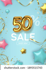 50 off discount promotion sale made of realistic 3d gold balloons with stars, sepantine and tinsel. Number in the form of golden balloons.  Vector illustration
