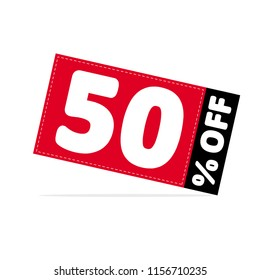 50% OFF Discount. Simple Sale Vector Illustration. Discount Offer Price Graphic.  Red and Black Tag with White Letters. White Background. Gray Shadow.