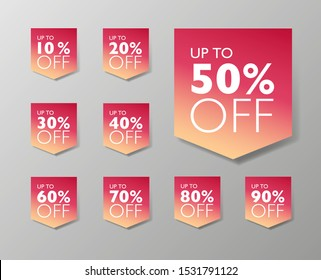50% off fall seasonal sale tags. Set of 10% through 90% off Red labels for sale promotional marketing.