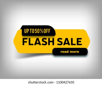 Up to 50% off Flash sale banner, discount tag, special offer. Website sticker on a gray abstract background, yellow web page design. Vector illustration, eps10