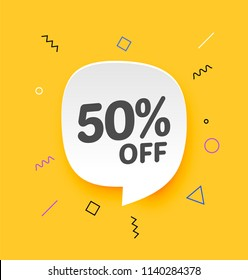 50% off, Flat sales Vector badges for Labels, , Stickers, Banners, Tags, Web Stickers, New offer. Discount badge in yellow background