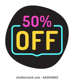 50% off. Flat vector badge illustration.