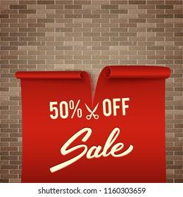 50% off, half price discount, red realistic ribbon, advertisement, big sale, vector illustration