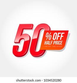 50% Off Half Price Label