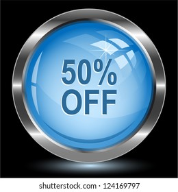 50% OFF. Internet button. Vector illustration.