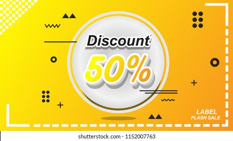 50% Off Label Discount Card Vector EPS 10