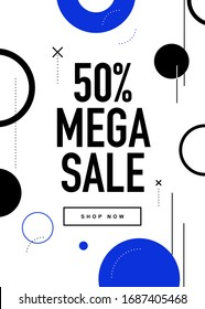50% OFF Mega Sale Flyer Design. Promo Web Banner Discount Coupon Color Illustration. Flat Design Sale Poster Template.