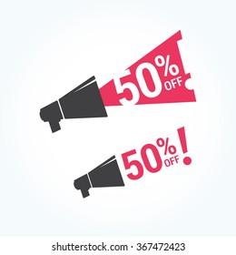 50% Off Megaphone Icon